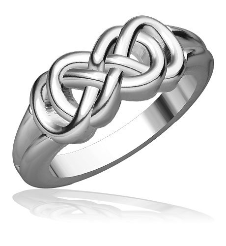 Wide Double Infinity Ring in 10k White Gold