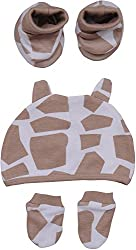 Bio Kid Unisex Body Guard Set- Cap, Shoes And Mittens - Set Of 5 Pieces (Light Brown)