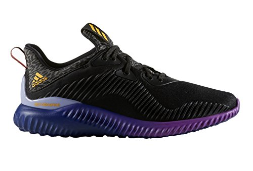adidas Performance Women's Alphabounce W Running Shoe, Black/Solar Gold/Shock Purple Fabric, 9 M US