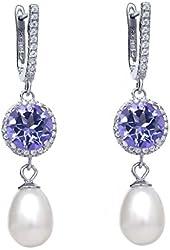 5.59 Ct Blue Mystic Topaz Cultured Freshwater Pearl Silver Earrings