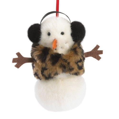 Boyds Plush Snowman With Animal Print Shawl Ornament
