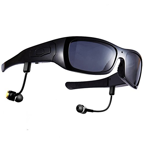 Forestfish Polarized Sunglasses with Camera 8GB HD Video Recorder Bluetooth Headset for IOS Android Smartphone Reflective Sunglasses UV400 Black