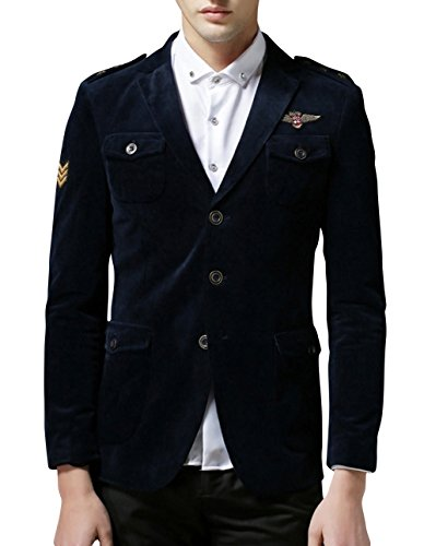 Ubasics Men's Vintage Comfortable New Fit Corduroy Long Sleeve Blazer Coat Blue 52 /US XS chest:33.1""