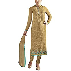Applecreation Beige Pure Georgette Salwar Kameez