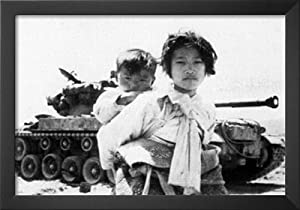 Professionally Framed Korean Citizens (In Front of Tank, 1951) Art Poster Print - 13x19 with Solid Black Wood Frame
