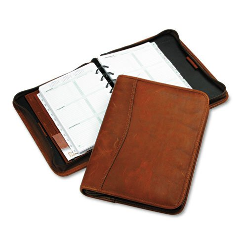 Day-Timer - Aviator Cowhide Leather Zippered Organizer Starter Set, 5-1/2 X 8-1/2, Dark Tan 80844 (Dmi Ea