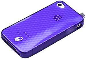 Jellyfish Makeover Set with Case, Color Border Screen Protector, Rhinestone Dust Charm and Home Button Stickers for iPhone 4/4S - Retail Packaging - Precious Purple