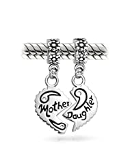 Bling Jewelry 925 Sterling Silver Mother Daughter Split Heart Dangle Bead Set Fits Pandora Charms