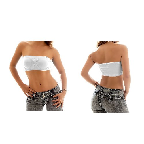 Londonmagicstore Fashion Store White Women's Girl's Top Vest Sports Bras Bandeau BoobTube Bra L/XL/XXXL (14-18-18)