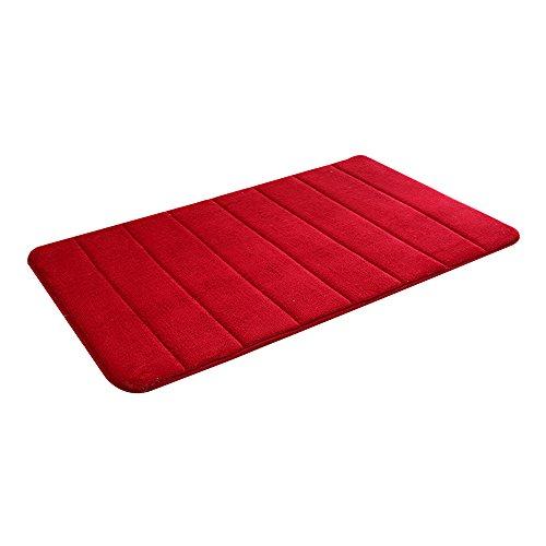 Japace® Memory Foam Tapis de Bain / Absorbant Douche Tapis Anti-dérapant Anti-statique Mat Souple (Vin rouge couleur)