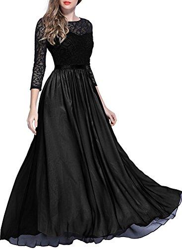 Miusol Womens Vintage Lace Contrast Chiffon Half Sleeve