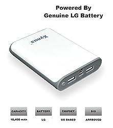 XYNUS RM-10400 mAh Power Bank With Genuine LG Battery (White-Grey)