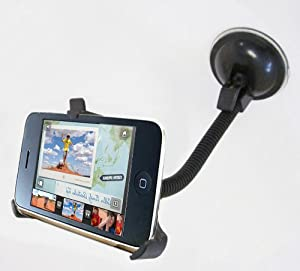 GSI Super Quality In Car Windshield - Dashboard Mount For Apple iPhone 4G - 360° Rotating Dock, Suction Cup Stand, Goose Neck Holder - Perfect Fit - Great For Travel Or Home Use