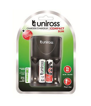 Uniross Slim Battery Charger (With 2 x AA 2100mAh Batteries)
