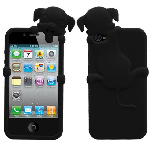 Apple iPhone 4 4S Soft Skin Case Black Dog Peeking