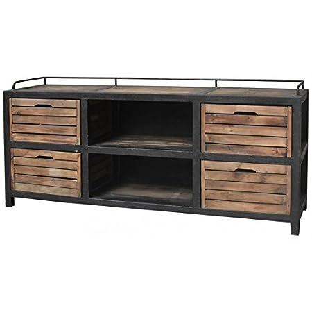 Bahut Enfilade con cajón–Cajonera de estilo rústico industrial–Mueble TV televisión (hierro y madera 170cm