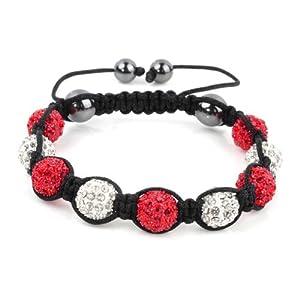 Shamballa Bracelet White & Red Disco Ball Friendship Bead Unisex Bracelets Swarovski Crystal Beads