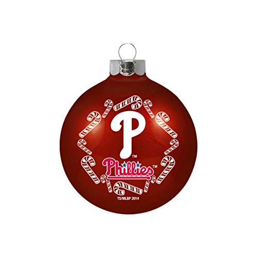 """Philadelphia Phillies MLB 2 5/8"""" Painted Round Candy Cane Christmas Tree Ornament"""