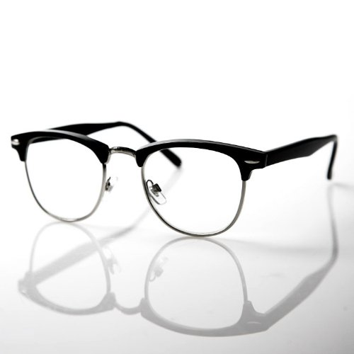 Black Half Frame Wayfarer Glasses