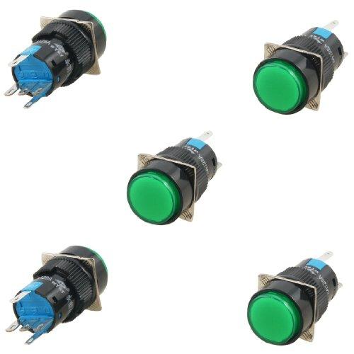 Dc 24V Green Neon Light Lamp Latching 16Mm Push Button Switch Ac 5A/250V 5 Pcs