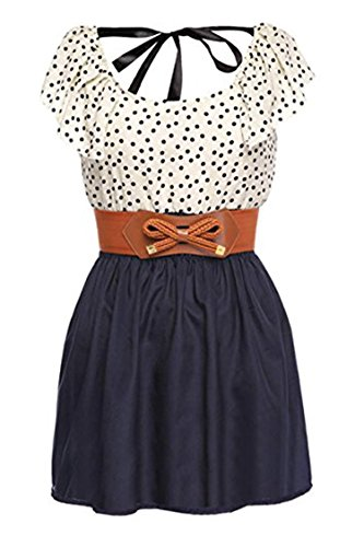Zeagoo Women's Fashion High Waist Casual Dots Short Dress with Belt (Medium, Blue(FBA)) (Teen Girl Clothes Cheap compare prices)