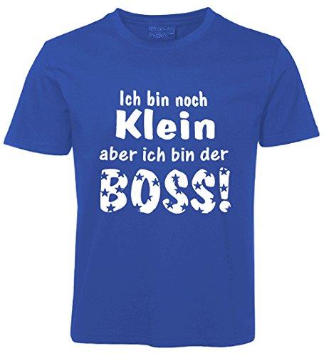 Kinder Sprüche T-Shirt Ich bin noch Klein aber ich bin der Boss ...Blau Größe 110