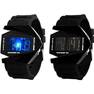 New Fashion LED Waterproof Aircraft Women's/Girl's Creative Watch Watches (Black)