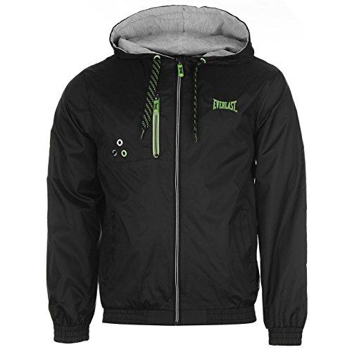 Everlast-Geo pioggia giacca tasca sul petto leggero Abbigliamento Black/Lime M