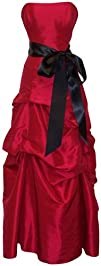 Strapless Taffeta Bridesmaid Prom Holiday Formal Gown Long