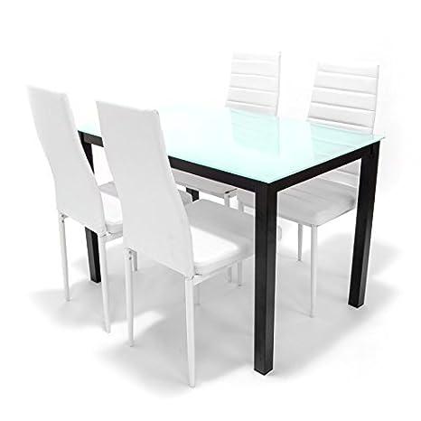 Conjunto de comedor / cocina de diseño italiano. Cristal y metal - Sillas blancas