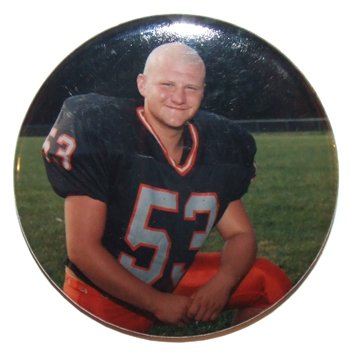 Anonymous Photo Pinback Button Of High School Football Player