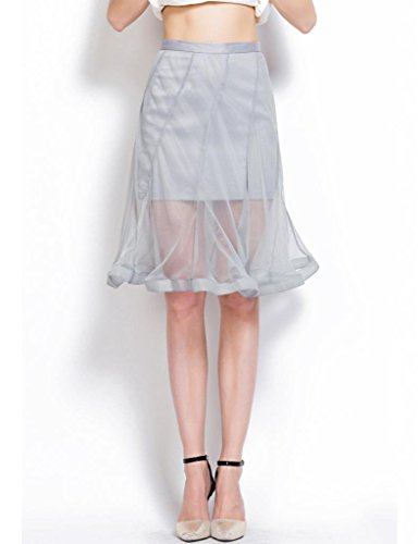 Mantos Ladies'S Fancy Knee Length Mini Lining Sheer Tulle Overlay Flared Skirts