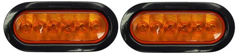 """2 6"""" Oval Led Amber Trailer Turn Signals With Grommets, Pigtail Plugs"""