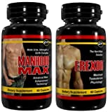 41bO3YsByqL. SL160  Erexor & Manhood Max   Male Enhancement Pills Penis Growth Enlargement Formulas. 2 pack, 60 capsules each