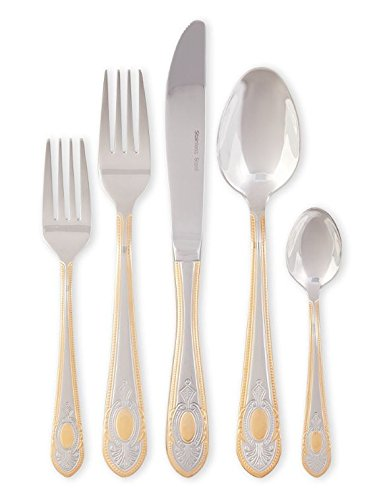 20 Pieces Cutlery Set - Service For 4 - 18/10 Stainless Steel Flatware - Textured Handles With Gold Trim Silverware By Joseph Sedgh Collection - Fine Dining With Tradition (Joseph Joseph Cheese compare prices)