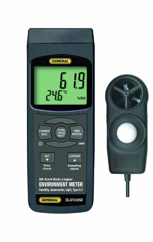General Tools DLAF930SD Data Logging Environment Meter with Excel Format SD Card - Airflow, Temperature, Humidity, Sound and Light - 1