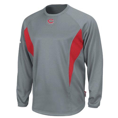 MLB Cincinnati Reds Crew Tech Fleece Pullover, Pro Granite/Pro Scarlet, Large