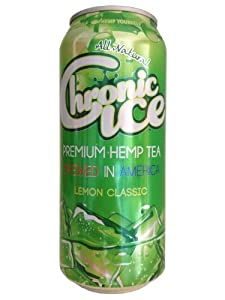 Chronic Ice Premium Hemp Tea, 16 Ounce (12 Pack) Lemon Tea, Grape Tea, Peach Tea, Ginger Ale Soda