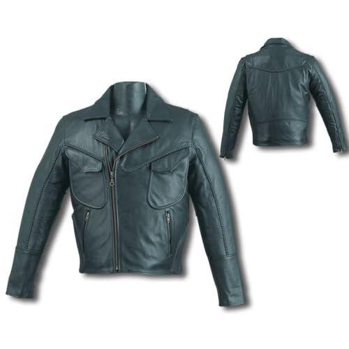 Mens Black Leather Motorcycle Jacket Sz 4XL