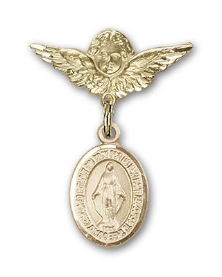 Gold Filled Baby Badge with Miraculous Charm and Angel w/Wings Badge Pin