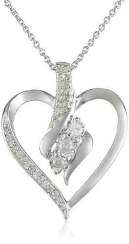 """Sterling Silver Diamond Heart Pendant Necklace (1/4 Cttw), 18"""""""