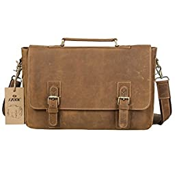 S-ZONE Men\'s Crazy-Horse Leather Business Briefcase shoulder laptop Bag