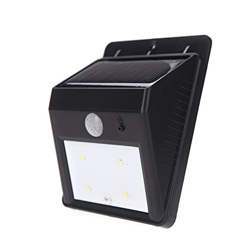 Anself Solar Powered Luminoso 4LED Luce PIR Motion Sensor Impermeabile rispettosa dell'ambiente per Pathway esterna Gradino Giardino Yard nero