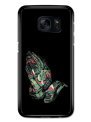 Praying Hands God Tropical Leaves Peek Through Design with Red and Black custodia per Samsung Galaxy S7