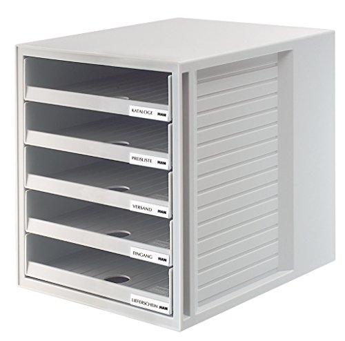 HAN-1401-11-Schubladenbox-SCHRANK-SET-Innovatives-attraktives-Design-mit-5-offenen-Schubladen-lichtgrau