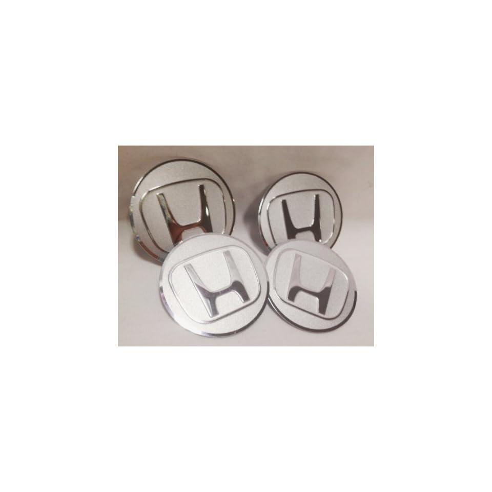 """Honda Silver Chrome Wheel Center Caps Emblems 4 pcs set 55.5mm / 2.2"""" Automotive"""