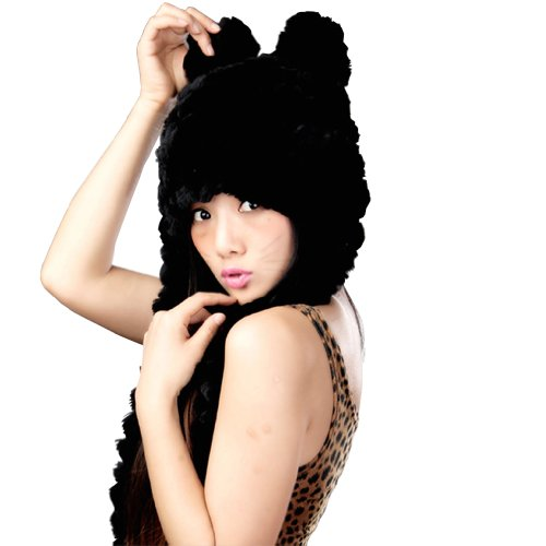 Winter Rex Rabbit Fur Orecchiette Hat Cat Ears Hat Caps Multicolor