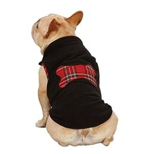 Zack & Zoey Polyester Dog Holiday Tartan Fleece Pullover, XX-Small, Black
