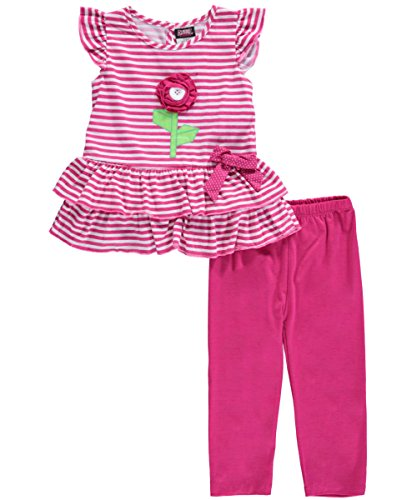 "Angel Face Little Girls' ""Button Flower"" 2-Piece Outfit"