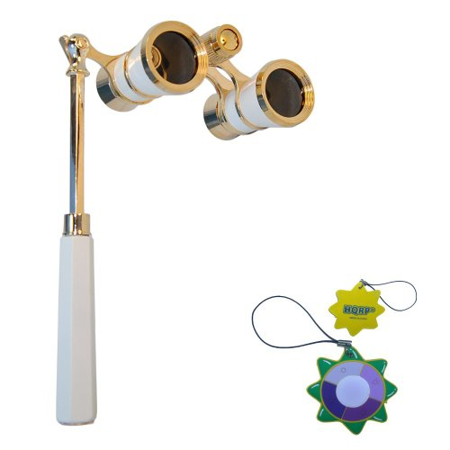 Hqrp Opera Glasses White-Pearl With Gold Trim W/ Built-In Extendable Handle Plus Hqrp Uv Meter